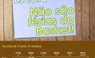 Basquetebol | Horários treinos de 26 a 30 dezembro